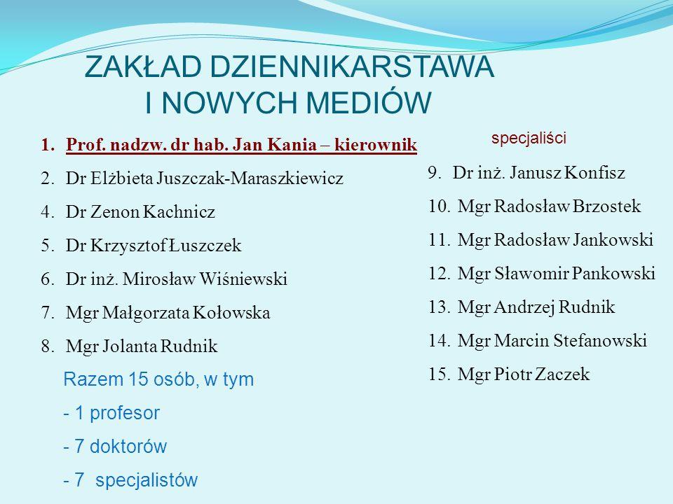 ZAKŁAD DZIENNIKARSTAWA I NOWYCH MEDIÓW 1.Prof. nadzw. dr hab. Jan Kania – kierownik 2.Dr Elżbieta Juszczak-Maraszkiewicz 4.Dr Zenon Kachnicz 5.Dr Krzy