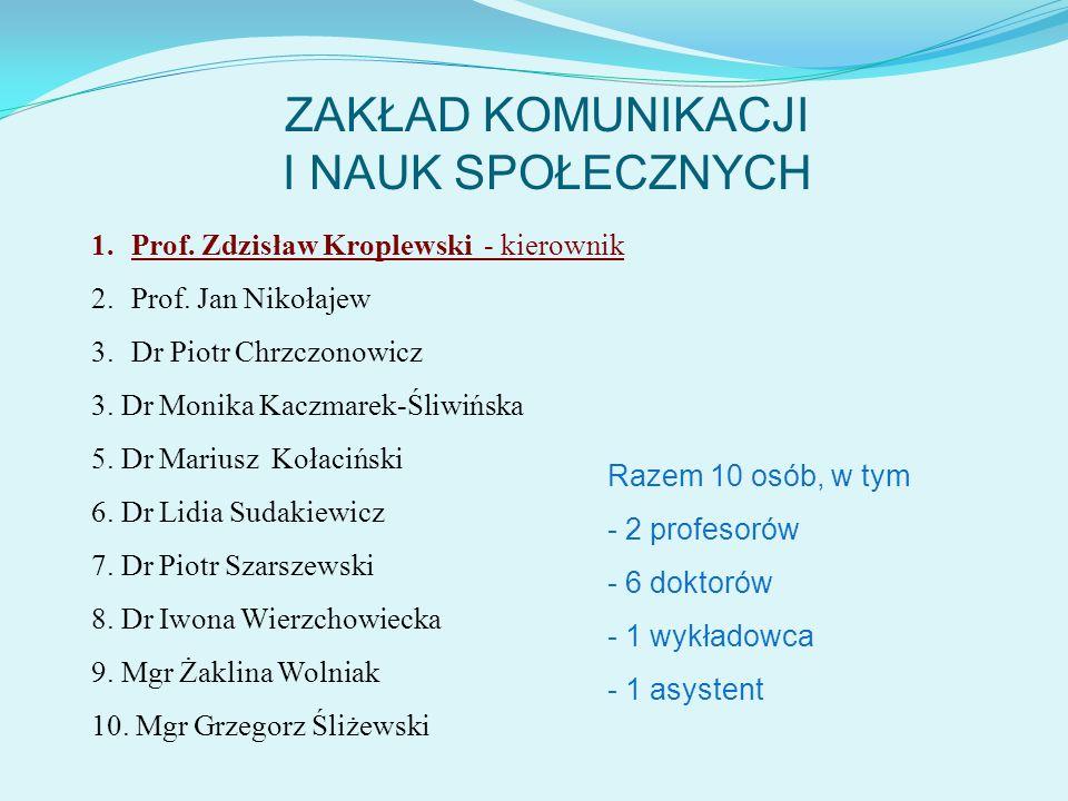 ZAKŁAD KOMUNIKACJI I NAUK SPOŁECZNYCH Razem 10 osób, w tym - 2 profesorów - 6 doktorów - 1 wykładowca - 1 asystent 1.Prof. Zdzisław Kroplewski - kiero
