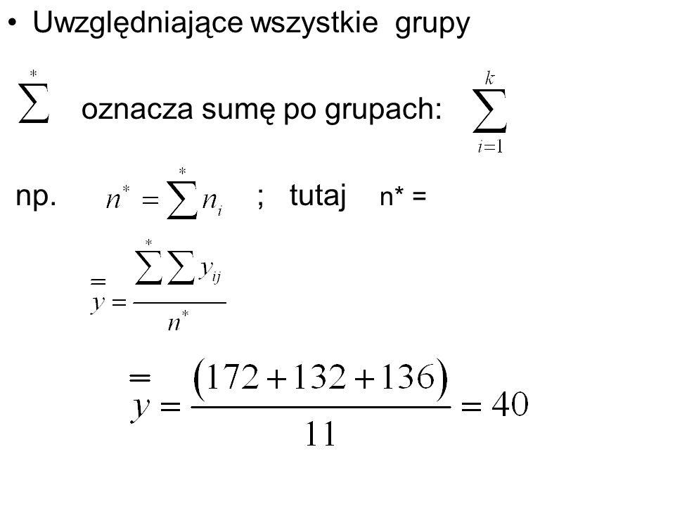 Uwzględniające wszystkie grupy oznacza sumę po grupach: np. ; tutaj n* =