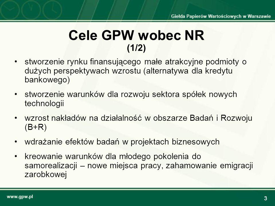 14 Dokument dopuszczeniowy niższe koszty przygotowania emisji akcji spółek zmniejszone wymagania regulacyjne w stosunku do rynku regulowanego (podobnie jak na AIM) – informacje zawarte w załącznikach I, III Rozporządzenia KE 809/2004 zatwierdzany przez Autoryzowanego Doradcę NR lub współzatwierdzany przez GPW udostępniany do publicznej wiadomości poprzez publikację na stronie internetowej operatora NR wprowadzenie do obrotu na NR w ciągu 5 dni roboczych