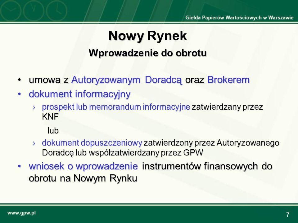 8 Autoryzowany Doradca NR (1/2) firma inwestycyjna, doradcza lub inny podmiot wpisany na listę Autoryzowanych Doradców prowadzoną przez GPW odpowiedzialny za wybór spółki o odpowiedniej jakości zatwierdza dokument dopuszczeniowy na etapie oferty: koordynuje i nadzoruje prace audytorów, doradców prawnych, Brokera i firmy PR/IR monitoruje postęp prac nad dokumentem dopuszczeniowym dla spółki dokonuje oceny warunków uplasowania emisji akcji spółki na rynku