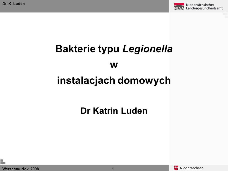 Warschau Nov. 20081 Dr. K. Luden Bakterie typu Legionella w instalacjach domowych Dr Katrin Luden