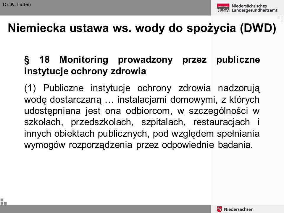 Niemiecka ustawa ws. wody do spożycia (DWD) Dr. K. Luden § 18 Monitoring prowadzony przez publiczne instytucje ochrony zdrowia (1) Publiczne instytucj