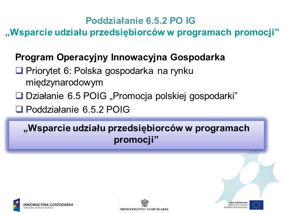 Poddziałanie 6.5.2 PO IG Wsparcie udziału przedsiębiorców w programach promocji Poddziałanie 6.5.2 POIG realizowane jest w celu wzmocnienia konkurencyjności gospodarki poprzez poprawę wizerunku polskiej gospodarki wśród partnerów międzynarodowych, nawiązanie kontaktów gospodarczych, wypromowanie polskich specjalności eksportowych.