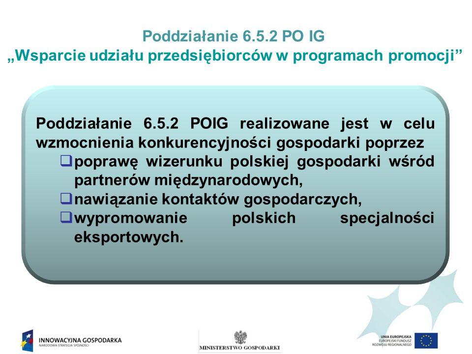 Poddziałanie 6.5.2 PO IG Wsparcie udziału przedsiębiorców w programach promocji Rozporządzenie Ministra Gospodarki z dnia 15 lipca 2010 r.