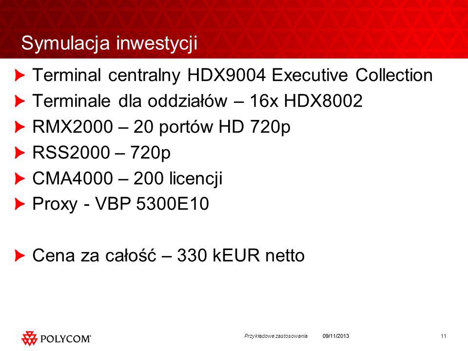 11Przykładowe zastosowania09/11/2013 Symulacja inwestycji Terminal centralny HDX9004 Executive Collection Terminale dla oddziałów – 16x HDX8002 RMX2000 – 20 portów HD 720p RSS2000 – 720p CMA4000 – 200 licencji Proxy - VBP 5300E10 Cena za całość – 330 kEUR netto