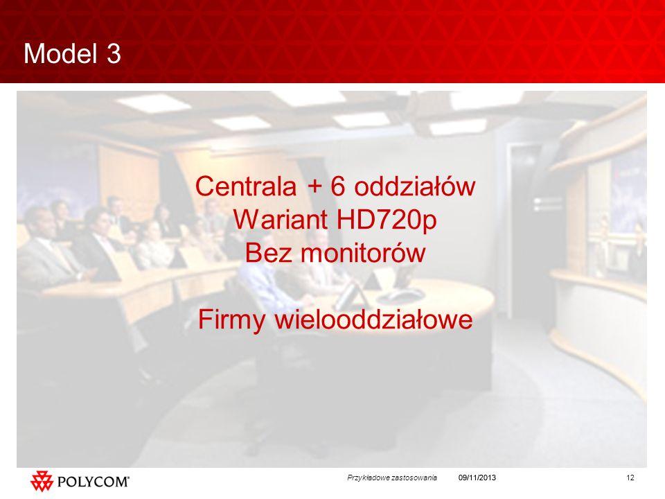12Przykładowe zastosowania09/11/2013 Centrala + 6 oddziałów Wariant HD720p Bez monitorów Firmy wielooddziałowe Model 3
