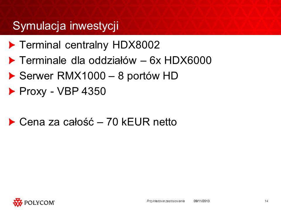 14Przykładowe zastosowania09/11/2013 Symulacja inwestycji Terminal centralny HDX8002 Terminale dla oddziałów – 6x HDX6000 Serwer RMX1000 – 8 portów HD Proxy - VBP 4350 Cena za całość – 70 kEUR netto