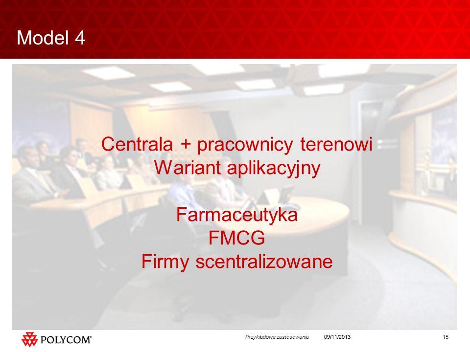 15Przykładowe zastosowania09/11/2013 Centrala + pracownicy terenowi Wariant aplikacyjny Farmaceutyka FMCG Firmy scentralizowane Model 4