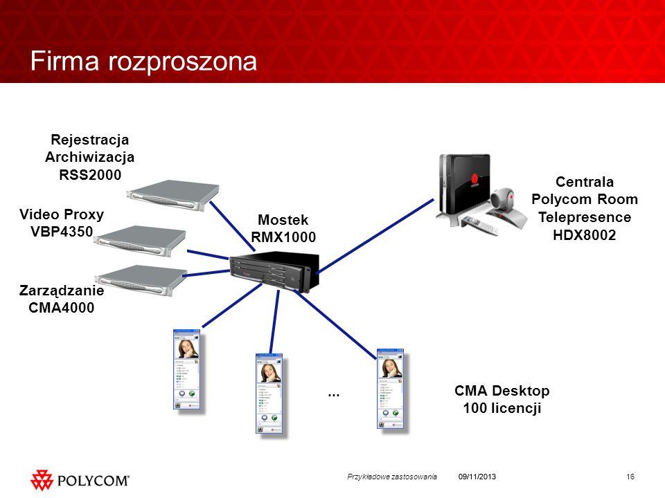 16Przykładowe zastosowania09/11/2013 Firma rozproszona Rejestracja Archiwizacja RSS2000 Zarządzanie CMA4000 Mostek RMX1000 CMA Desktop 100 licencji...