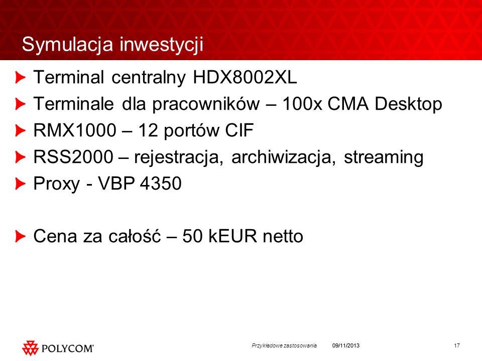 17Przykładowe zastosowania09/11/2013 Symulacja inwestycji Terminal centralny HDX8002XL Terminale dla pracowników – 100x CMA Desktop RMX1000 – 12 portów CIF RSS2000 – rejestracja, archiwizacja, streaming Proxy - VBP 4350 Cena za całość – 50 kEUR netto