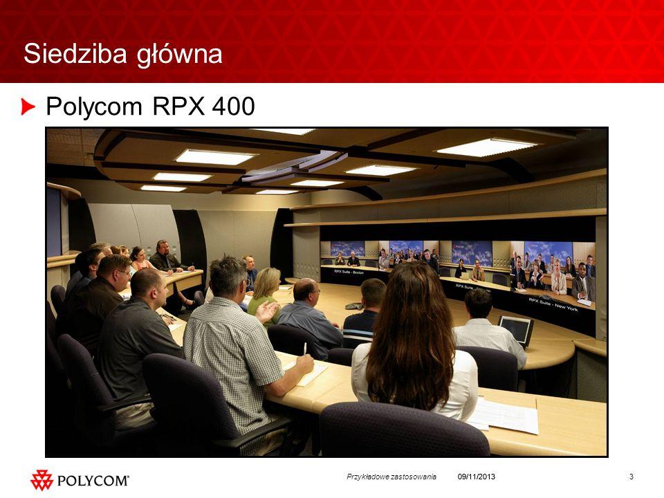 3Przykładowe zastosowania09/11/2013 Siedziba główna Polycom RPX 400