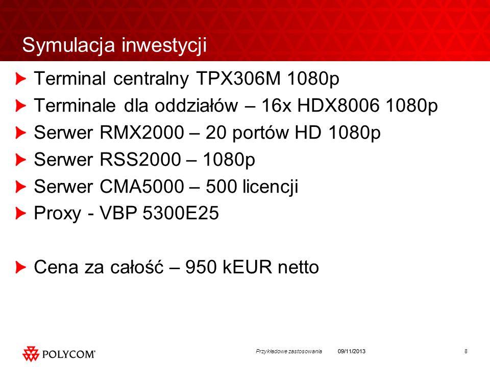 8Przykładowe zastosowania09/11/2013 Symulacja inwestycji Terminal centralny TPX306M 1080p Terminale dla oddziałów – 16x HDX8006 1080p Serwer RMX2000 – 20 portów HD 1080p Serwer RSS2000 – 1080p Serwer CMA5000 – 500 licencji Proxy - VBP 5300E25 Cena za całość – 950 kEUR netto