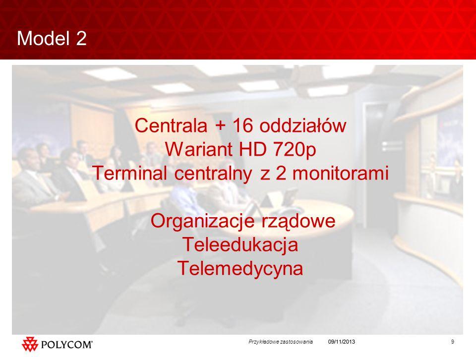 9Przykładowe zastosowania09/11/2013 Centrala + 16 oddziałów Wariant HD 720p Terminal centralny z 2 monitorami Organizacje rządowe Teleedukacja Telemedycyna Model 2