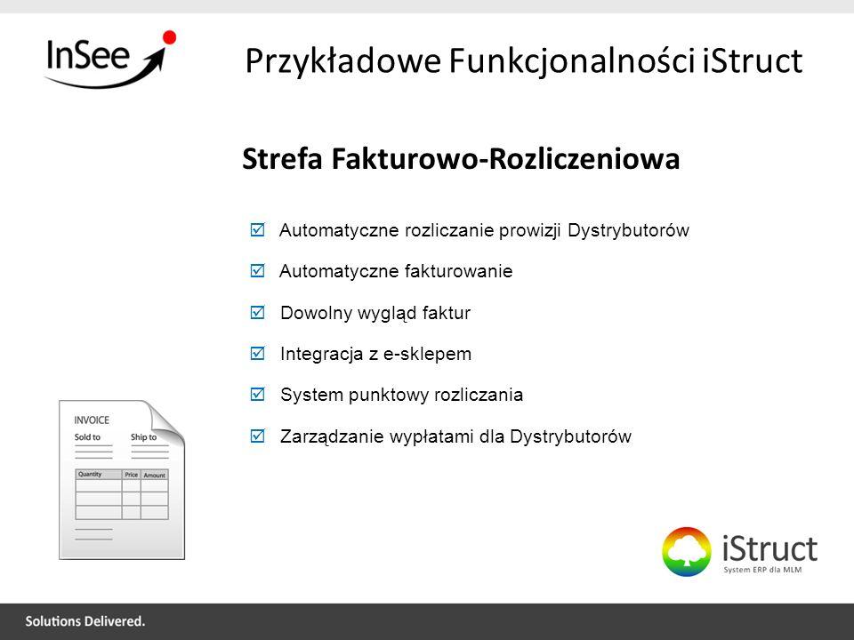 Przykładowe Funkcjonalności iStruct Strefa Fakturowo-Rozliczeniowa Automatyczne rozliczanie prowizji Dystrybutorów Automatyczne fakturowanie Dowolny w