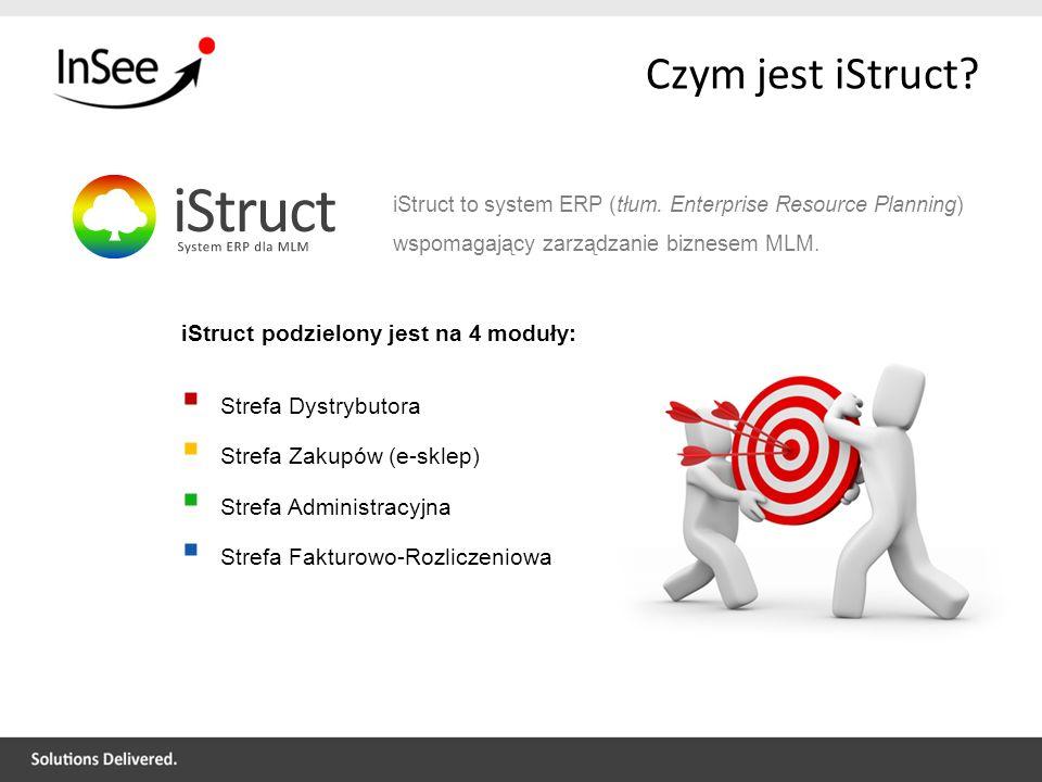Czym jest iStruct? iStruct podzielony jest na 4 moduły: Strefa Dystrybutora Strefa Zakupów (e-sklep) Strefa Administracyjna Strefa Fakturowo-Rozliczen