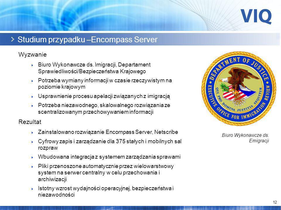 12 Studium przypadku –Encompass Server Wyzwanie Biuro Wykonawcze ds.