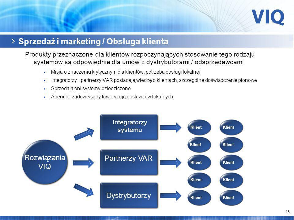 18 Sprzedaż i marketing / Obsługa klienta Produkty przeznaczone dla klientów rozpoczynających stosowanie tego rodzaju systemów są odpowiednie dla umów z dystrybutorami / odsprzedawcami Misja o znaczeniu krytycznym dla klientów; potrzeba obsługi lokalnej Integratorzy i partnerzy VAR posiadają wiedzę o klientach, szczególne doświadczenie pionowe Sprzedają oni systemy dziedziczone Agencje rządowe/sądy faworyzują dostawców lokalnych Rozwiązania VIQ Partnerzy VAR Klient Integratorzy systemu Klient Dystrybutorzy