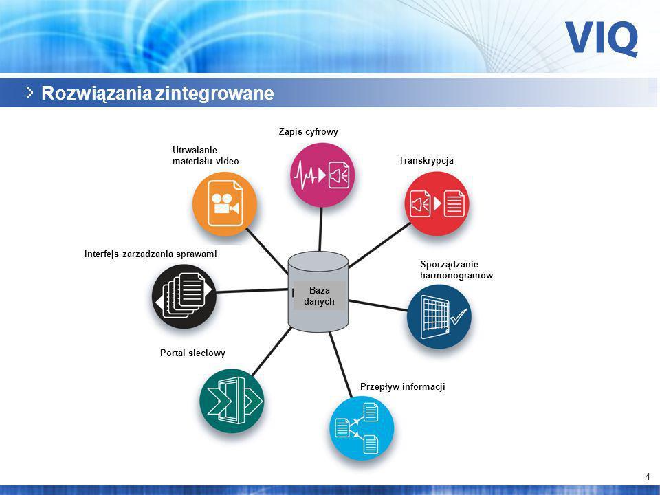 4 Rozwiązania zintegrowane Utrwalanie materiału video Zapis cyfrowy Transkrypcja Interfejs zarządzania sprawami Portal sieciowy Przepływ informacji Sporządzanie harmonogramów Baza danych