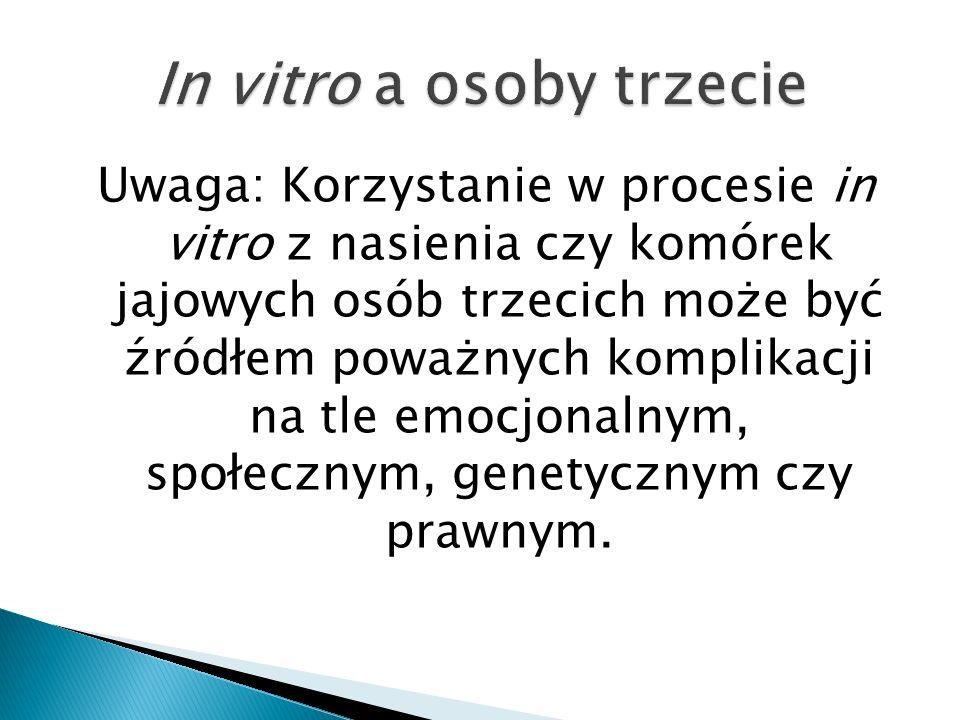 Uwaga: Korzystanie w procesie in vitro z nasienia czy komórek jajowych osób trzecich może być źródłem poważnych komplikacji na tle emocjonalnym, społe