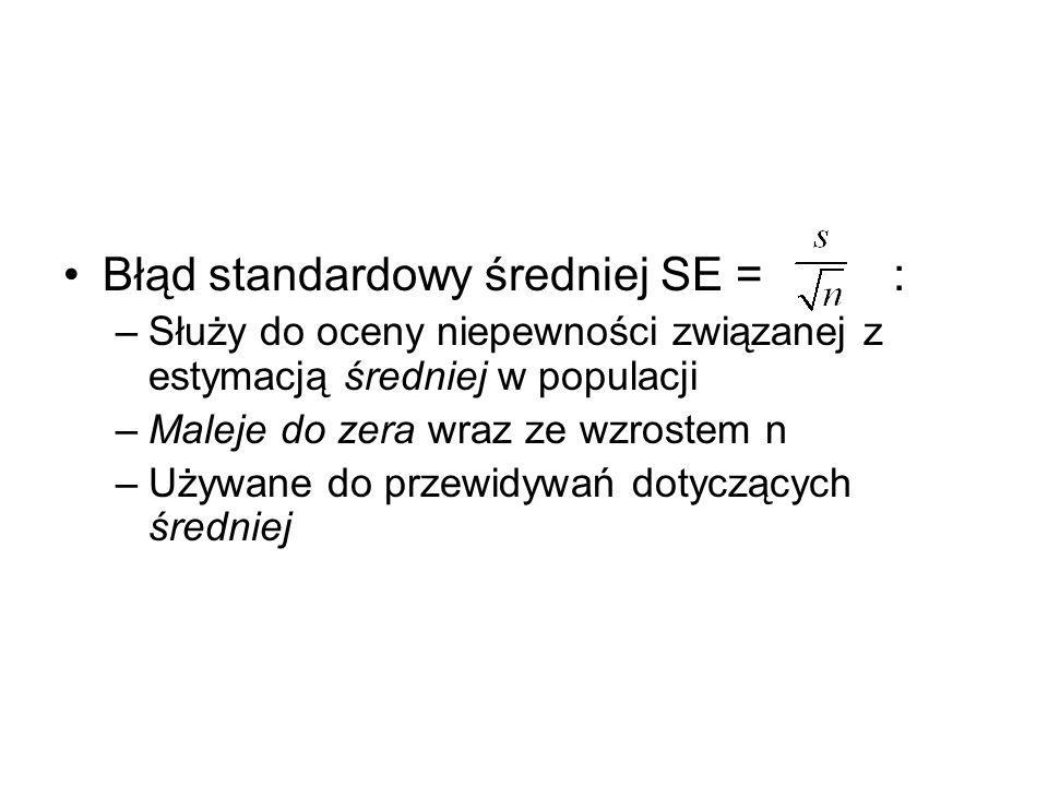 Błąd standardowy średniej SE = : –Służy do oceny niepewności związanej z estymacją średniej w populacji –Maleje do zera wraz ze wzrostem n –Używane do przewidywań dotyczących średniej