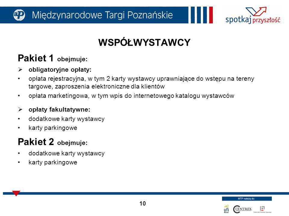10 WSPÓŁWYSTAWCY Pakiet 1 obejmuje: obligatoryjne opłaty: opłata rejestracyjna, w tym 2 karty wystawcy uprawniające do wstępu na tereny targowe, zapro