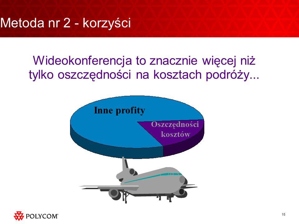 16 Wideokonferencja to znacznie więcej niż tylko oszczędności na kosztach podróży... Inne profity Oszczędności kosztów Metoda nr 2 - korzyści
