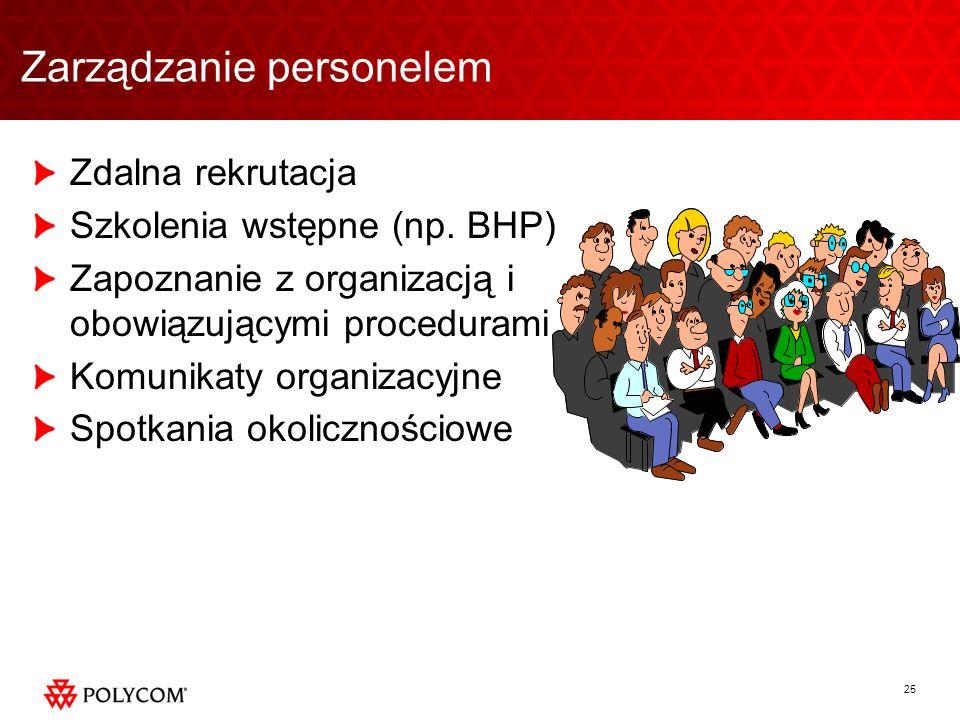25 Zdalna rekrutacja Szkolenia wstępne (np. BHP) Zapoznanie z organizacją i obowiązującymi procedurami Komunikaty organizacyjne Spotkania okoliczności
