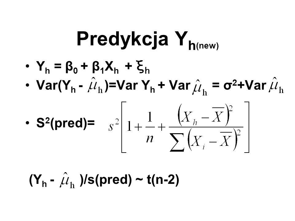 Predykcja Y h (new) Y h = β 0 + β 1 X h + ξ h Var(Y h - )=Var Y h + Var = σ 2 +Var S 2 (pred)= (Y h - )/s(pred) ~ t(n-2)