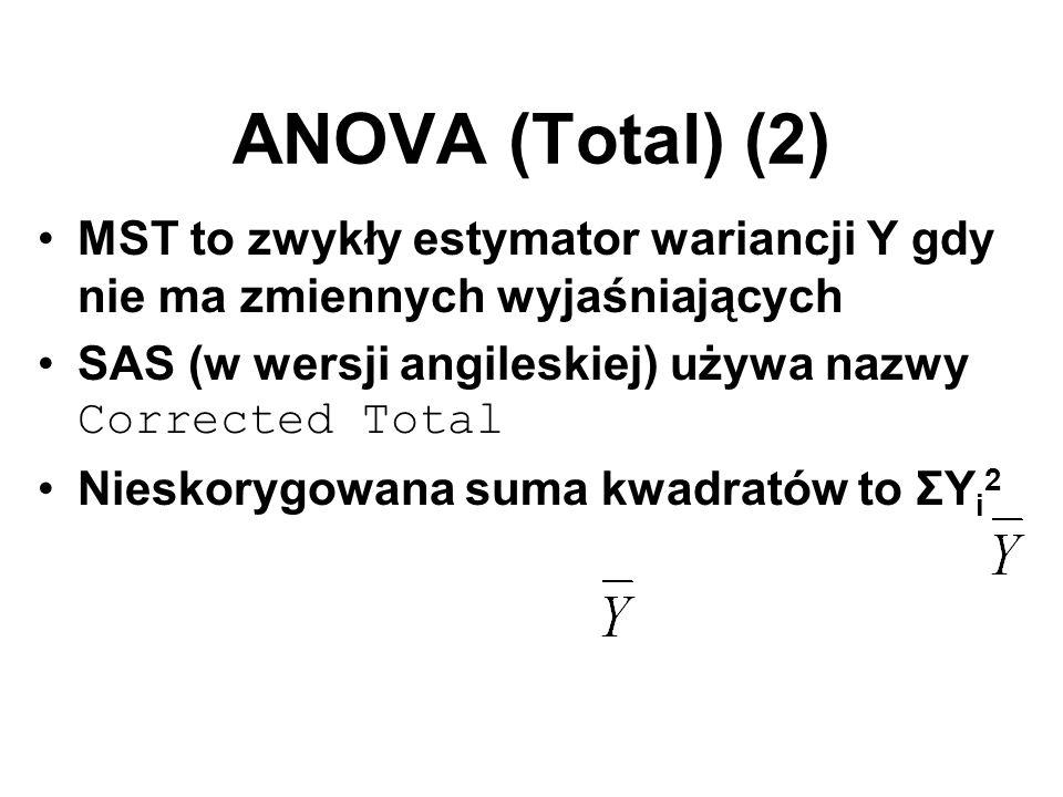 ANOVA (Total) (2) MST to zwykły estymator wariancji Y gdy nie ma zmiennych wyjaśniających SAS (w wersji angileskiej) używa nazwy Corrected Total Niesk