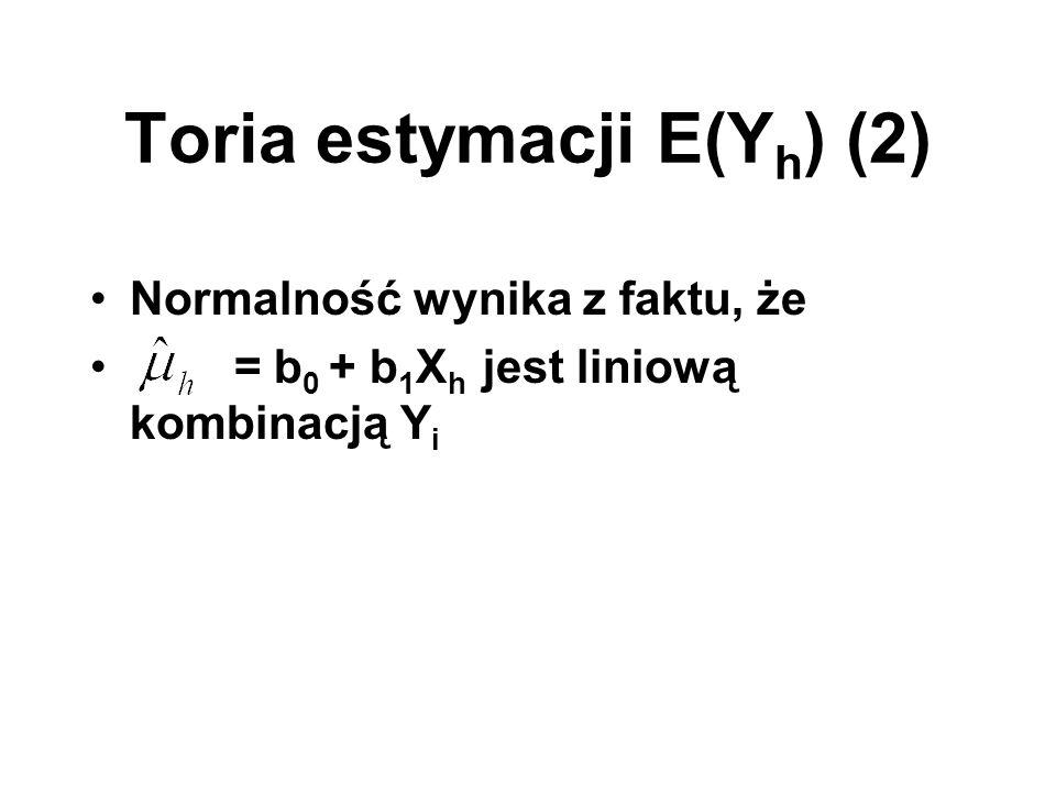 Toria estymacji E(Y h ) (2) Normalność wynika z faktu, że = b 0 + b 1 X h jest liniową kombinacją Y i