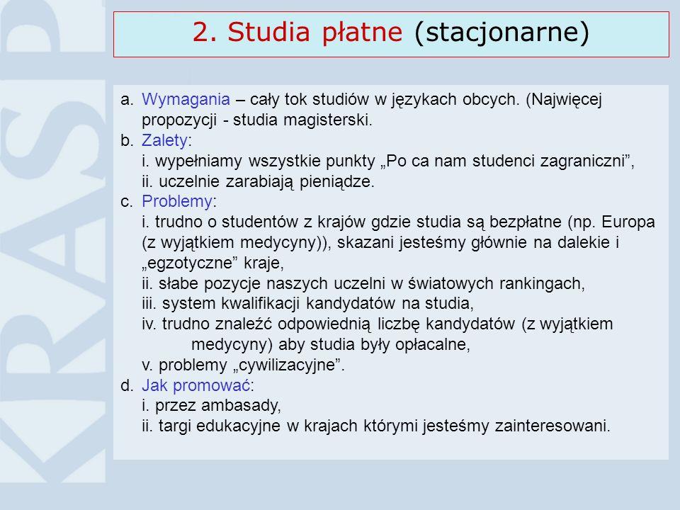 2. Studia płatne (stacjonarne) a.Wymagania – cały tok studiów w językach obcych. (Najwięcej propozycji - studia magisterski. b.Zalety: i. wypełniamy w