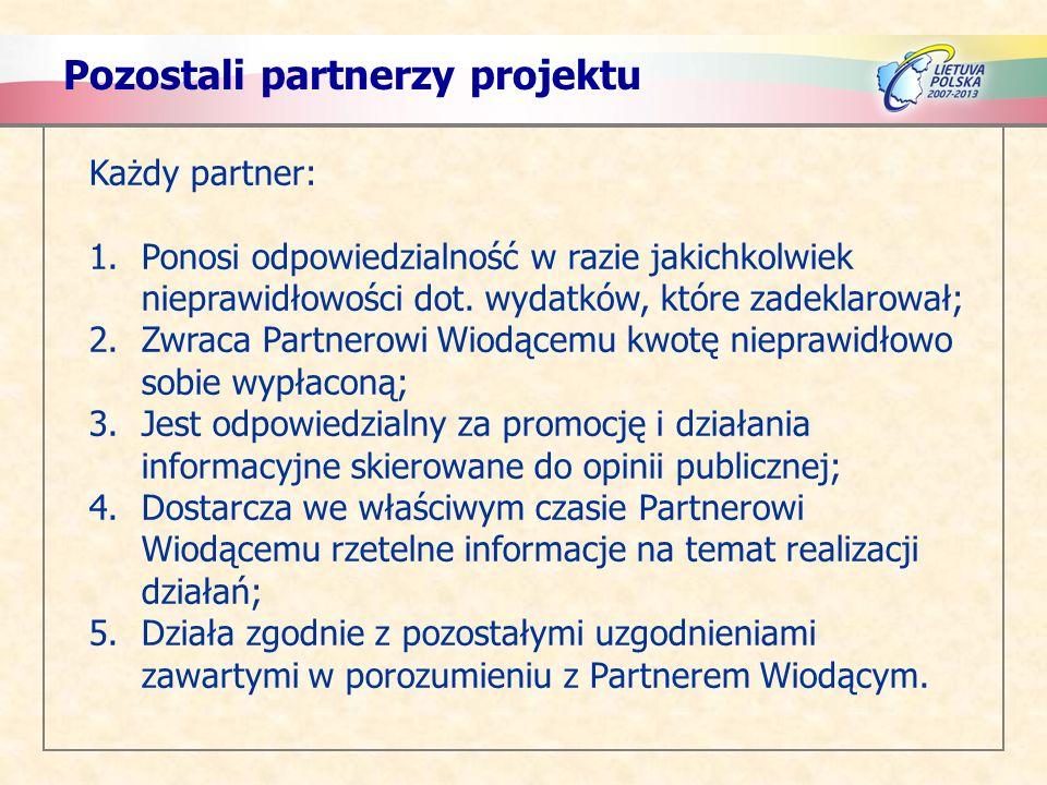 Pozostali partnerzy projektu Każdy partner: 1.Ponosi odpowiedzialność w razie jakichkolwiek nieprawidłowości dot. wydatków, które zadeklarował; 2.Zwra