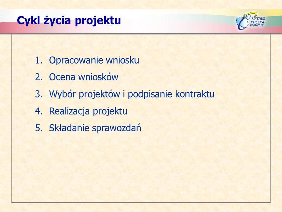 Cykl życia projektu 1.Opracowanie wniosku 2.Ocena wniosków 3.Wybór projektów i podpisanie kontraktu 4.Realizacja projektu 5.Składanie sprawozdań