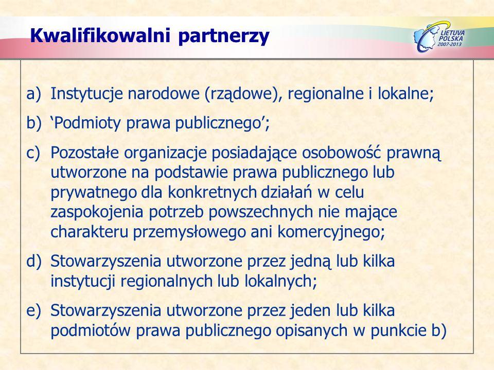 Kwalifikowalni partnerzy a)Instytucje narodowe (rządowe), regionalne i lokalne; b)Podmioty prawa publicznego; c)Pozostałe organizacje posiadające osob