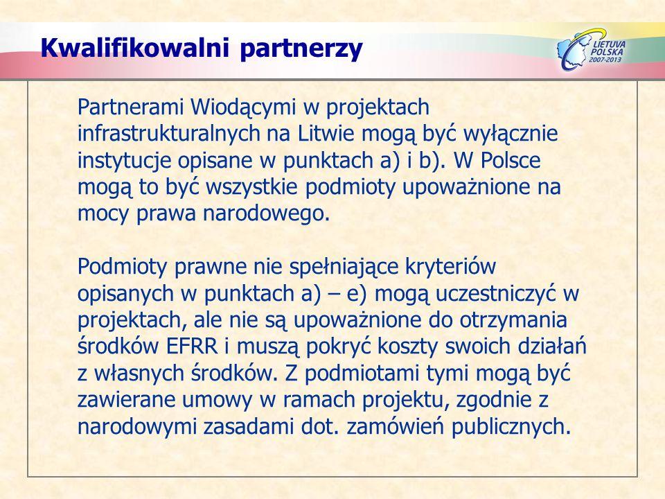 Kwalifikowalni partnerzy Partnerami Wiodącymi w projektach infrastrukturalnych na Litwie mogą być wyłącznie instytucje opisane w punktach a) i b). W P