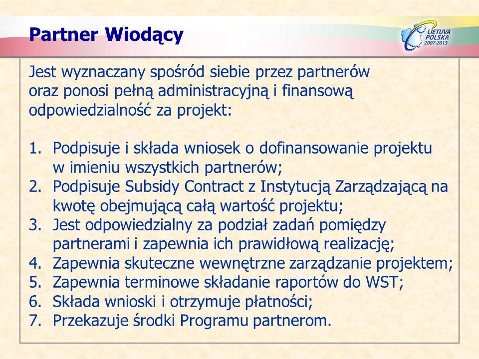 Partner Wiodący Jest wyznaczany spośród siebie przez partnerów oraz ponosi pełną administracyjną i finansową odpowiedzialność za projekt: 1.Podpisuje