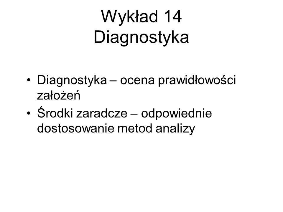 Wykład 14 Diagnostyka Diagnostyka – ocena prawidłowości założeń Środki zaradcze – odpowiednie dostosowanie metod analizy