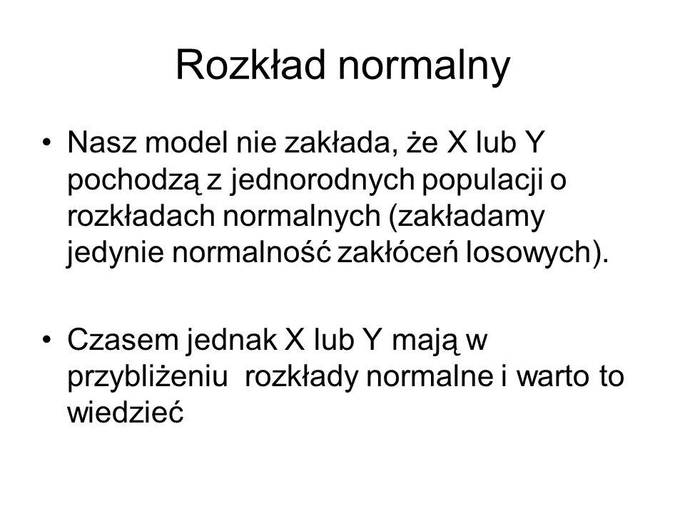 Rozkład normalny Nasz model nie zakłada, że X lub Y pochodzą z jednorodnych populacji o rozkładach normalnych (zakładamy jedynie normalność zakłóceń l
