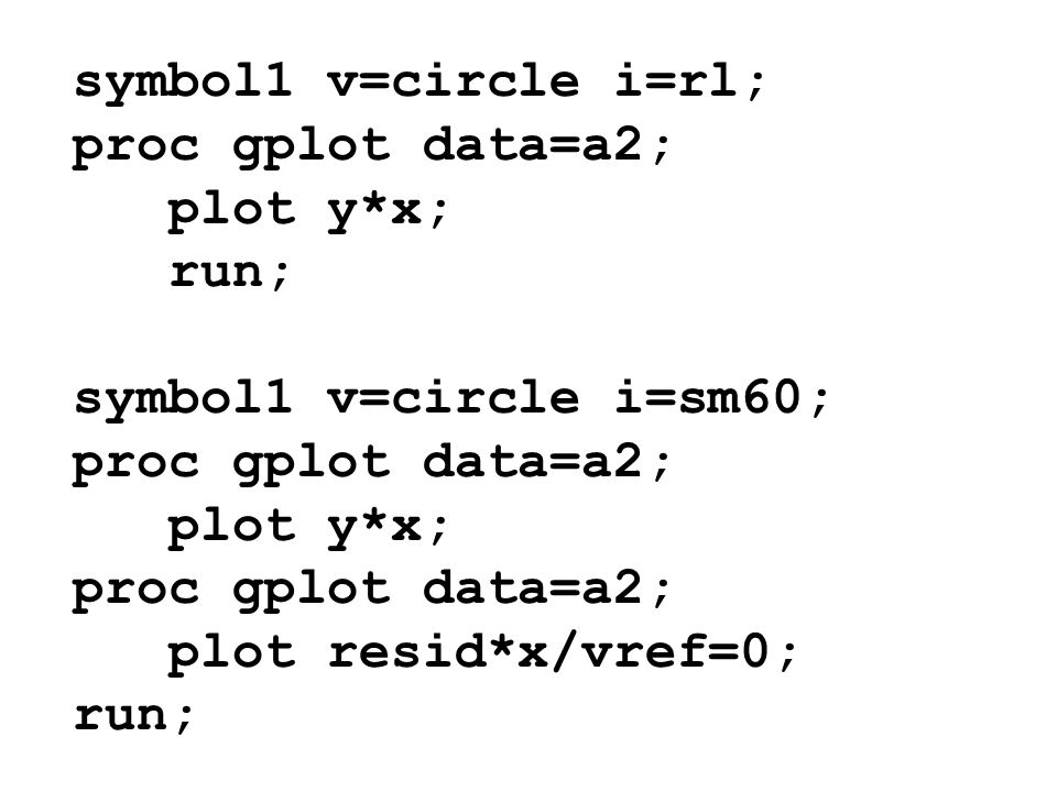 symbol1 v=circle i=rl; proc gplot data=a2; plot y*x; run; symbol1 v=circle i=sm60; proc gplot data=a2; plot y*x; proc gplot data=a2; plot resid*x/vref