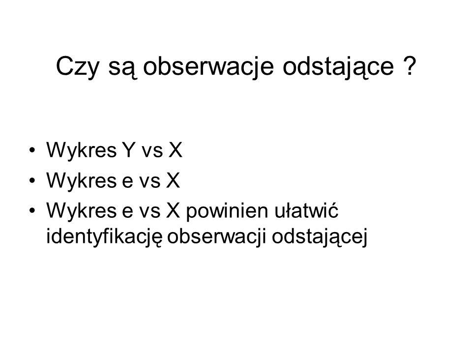 Czy są obserwacje odstające ? Wykres Y vs X Wykres e vs X Wykres e vs X powinien ułatwić identyfikację obserwacji odstającej