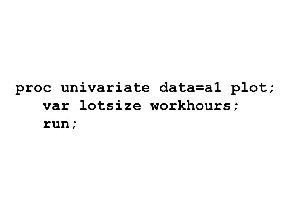 Variable: lotsize N 25 Mean 70 Std Deviation 28.7228132 Skewness -0.1032081 Uncorrected SS 142300 Coeff Variation 41.0325903