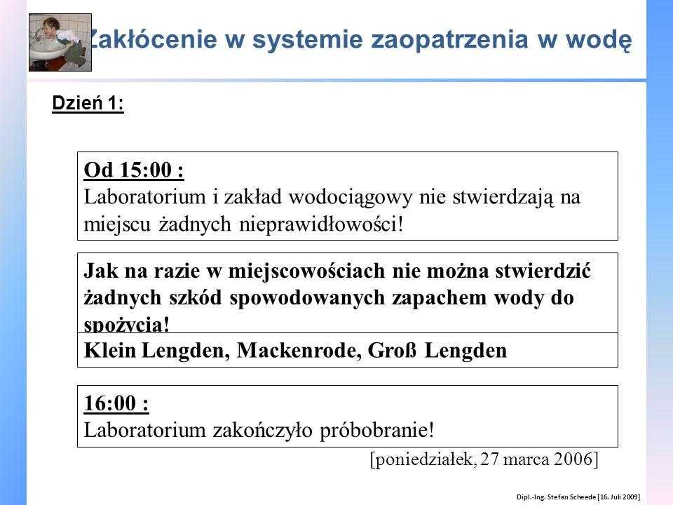 Zakłócenie w systemie zaopatrzenia w wodę Dipl.-Ing. Stefan Scheede [16. Juli 2009] [poniedziałek, 27 marca 2006] Od 15:00 : Laboratorium i zakład wod