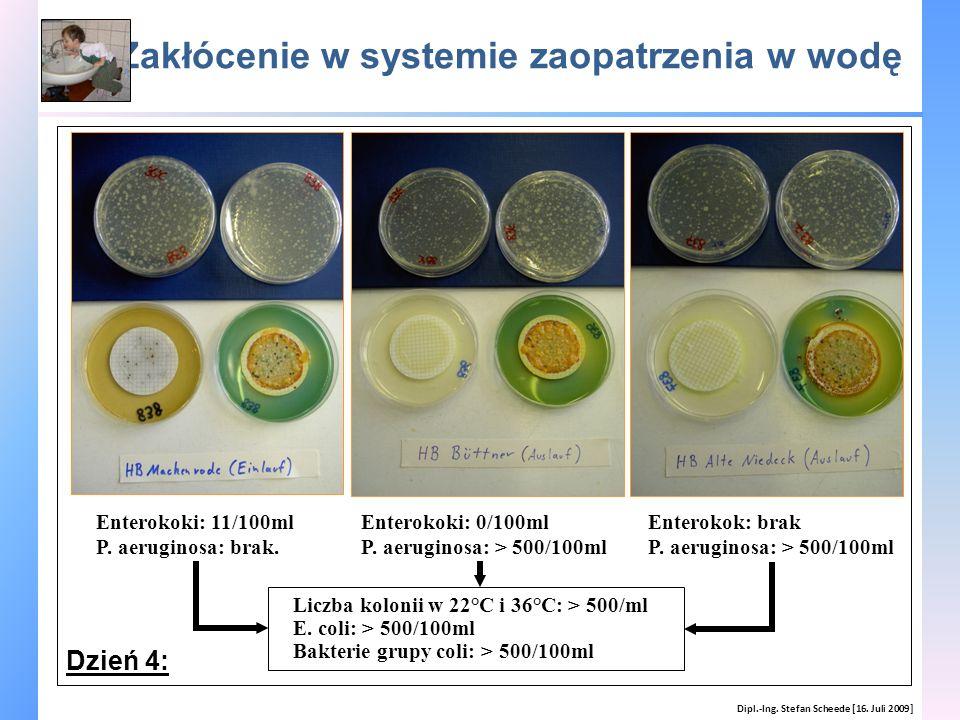 Zakłócenie w systemie zaopatrzenia w wodę Dipl.-Ing. Stefan Scheede [16. Juli 2009] Enterokoki: 0/100ml P. aeruginosa: > 500/100ml Enterokoki: 11/100m