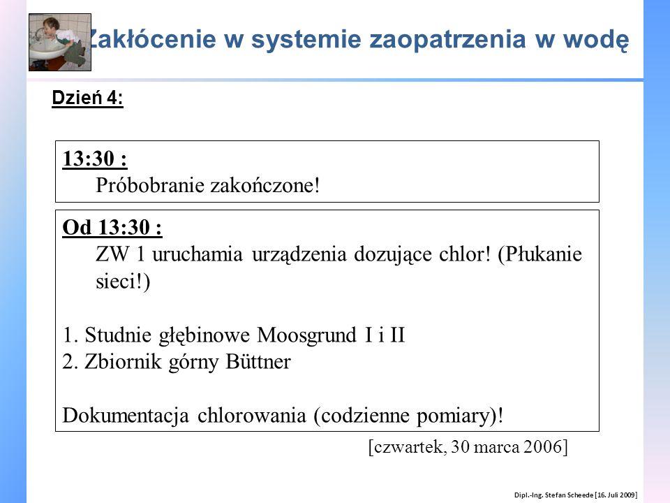 Zakłócenie w systemie zaopatrzenia w wodę Dipl.-Ing. Stefan Scheede [16. Juli 2009] Dzień 4: [czwartek, 30 marca 2006] 13:30 : Próbobranie zakończone!