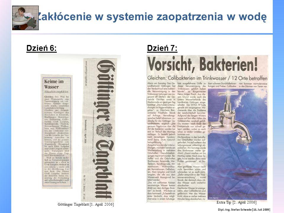Zakłócenie w systemie zaopatrzenia w wodę Dipl.-Ing. Stefan Scheede [16. Juli 2009] Dzień 6:Dzień 7: Extra Tip [2. April 2006] Göttinger Tageblatt [1.