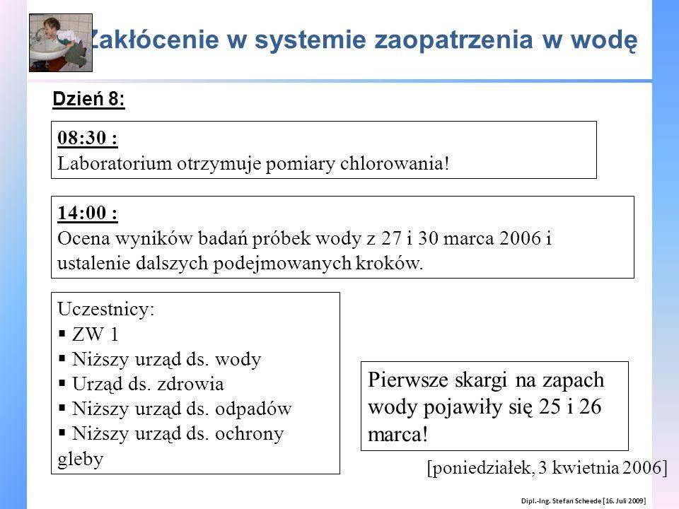 Zakłócenie w systemie zaopatrzenia w wodę Dipl.-Ing. Stefan Scheede [16. Juli 2009] [poniedziałek, 3 kwietnia 2006] 08:30 : Laboratorium otrzymuje pom