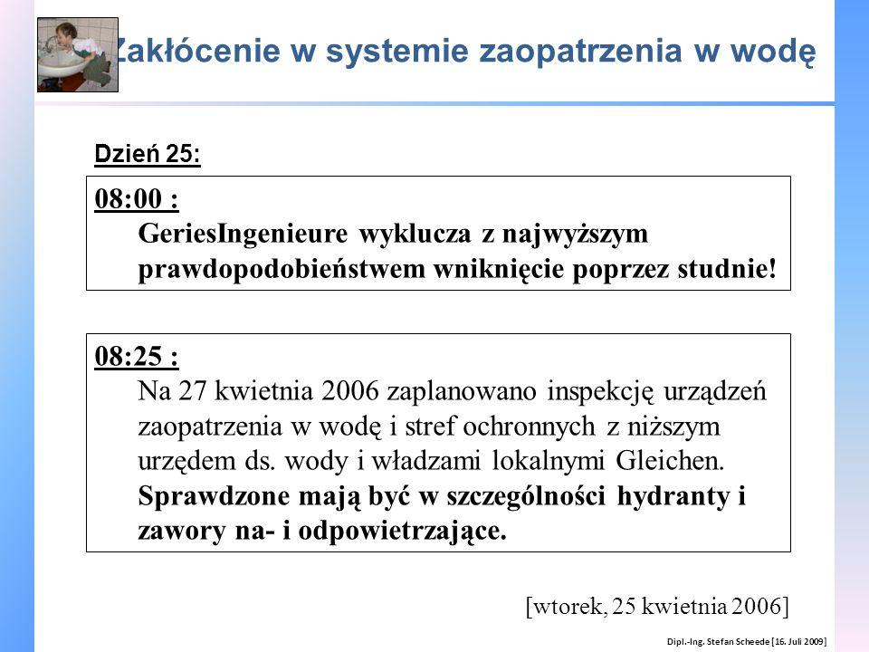 Zakłócenie w systemie zaopatrzenia w wodę Dipl.-Ing. Stefan Scheede [16. Juli 2009] [wtorek, 25 kwietnia 2006] 08:00 : GeriesIngenieure wyklucza z naj