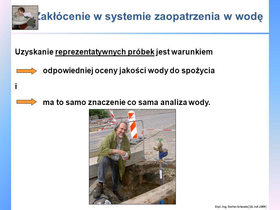 Zakłócenie w systemie zaopatrzenia w wodę Dipl.-Ing. Stefan Scheede [16. Juli 2009] Uzyskanie reprezentatywnych próbek jest warunkiem odpowiedniej oce