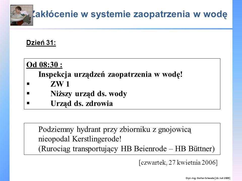 Zakłócenie w systemie zaopatrzenia w wodę Dipl.-Ing. Stefan Scheede [16. Juli 2009] [czwartek, 27 kwietnia 2006] Od 08:30 : Inspekcja urządzeń zaopatr